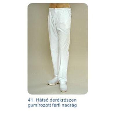 Férfi nadrág hátul gumírozott, klasszikus fazon, három rejtett zsebbel, elöl zippzáros (méret: 54-56)