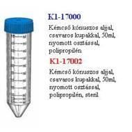 Kémcsô, 50ml, 30x115mm, kónuszos, osztott, csavaros kupak, PP, steril, 50x