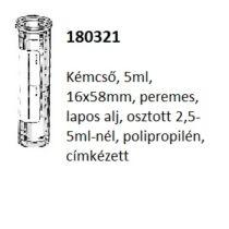 Kémcső, 5ml, 16x58mm, osztott, peremes, álló, cimkés, PP, 3500db