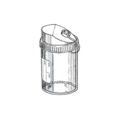 Tartály 200 ml, 60 x 98 mm, csav.kupak, pip.nyílás, címkés, PP 135x