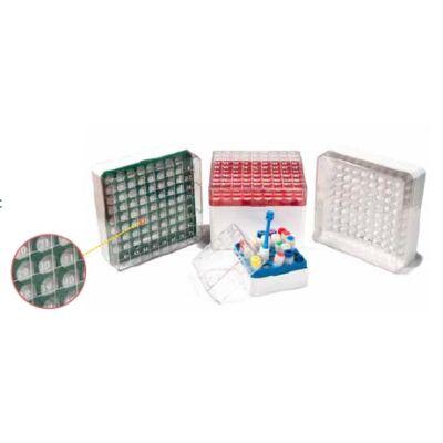 CRYO-tároló doboz, 10x10db/1-2ml cső részére, PC, fehér, 1x