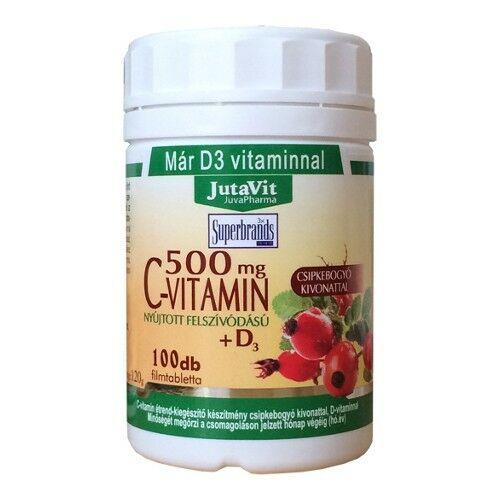 C-vitamin 500mg tabletta, nyújtott felszívódású csipke+D3 100x, Jutavit