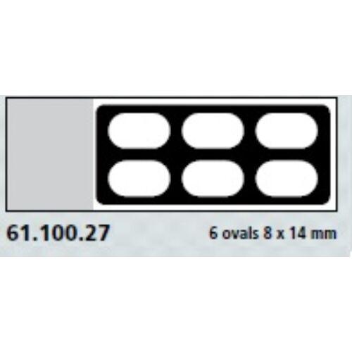 Teflon bevonatú tárgylemez, 6x14x8mm,ovális gyűrű,  100x